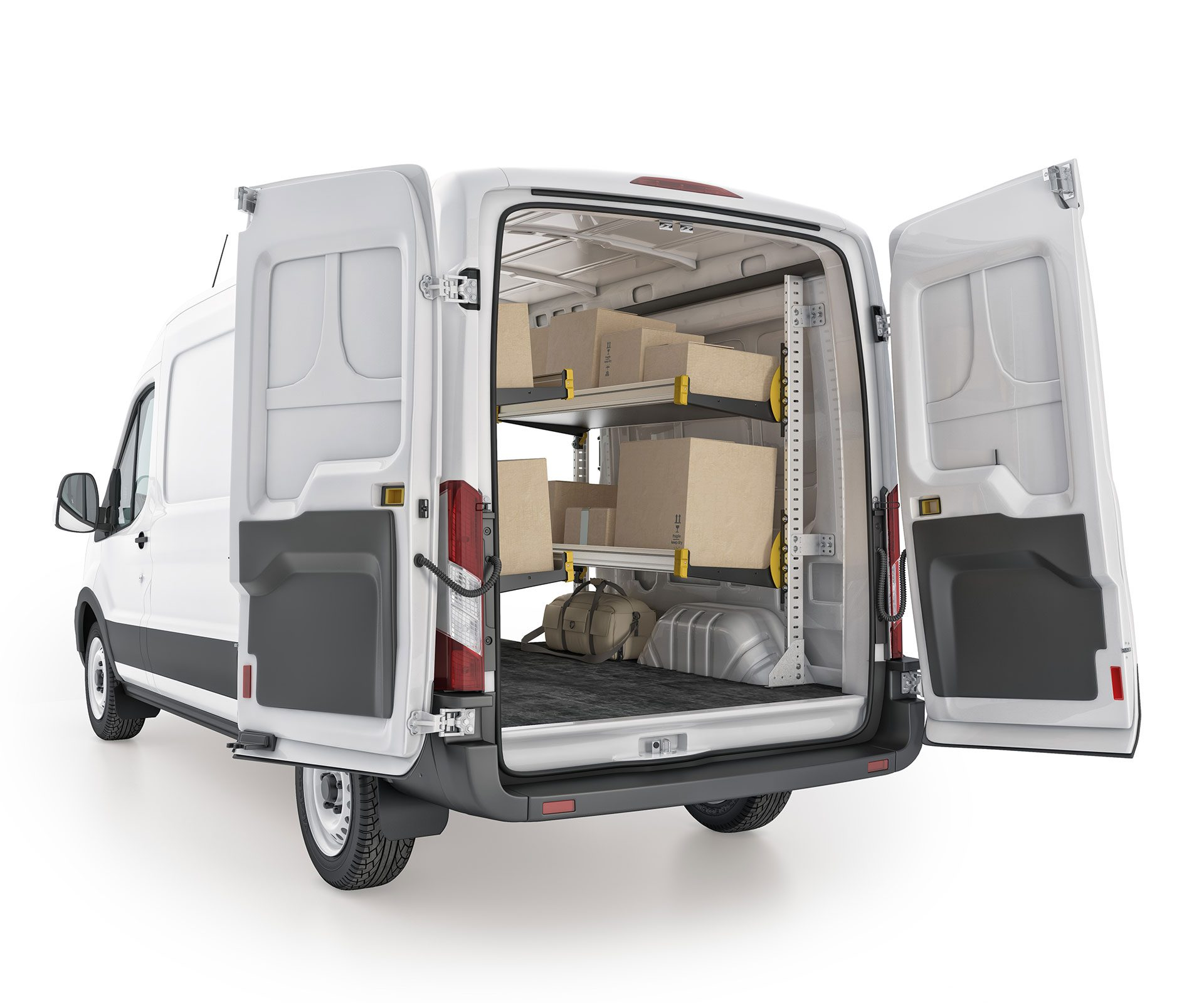 Ford Transit Delivery Package, FTM-19 Installed, Rear Passenger View