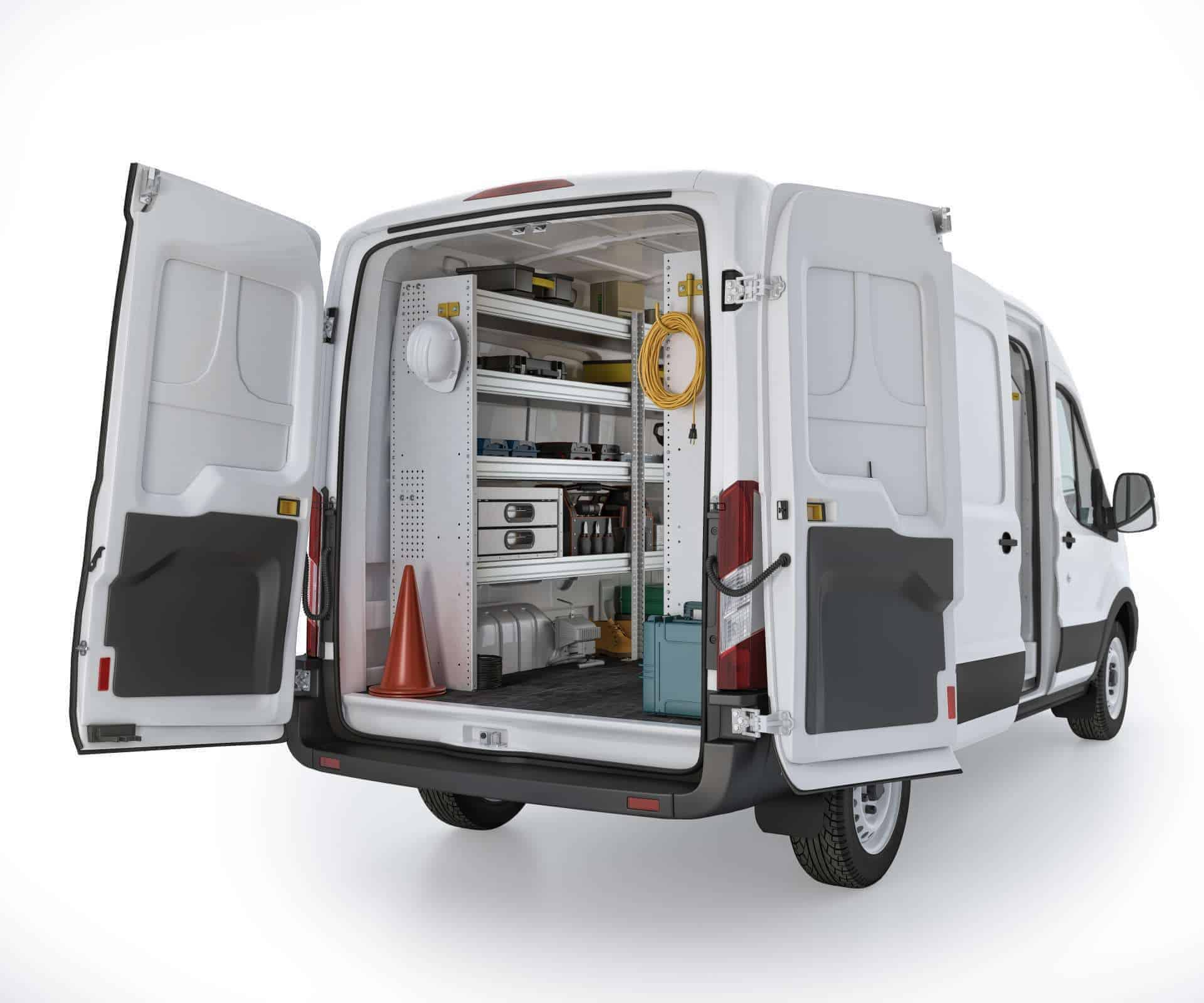 Ford Transit Aluminum Package, FTM-27 Installed, Rear Driver View