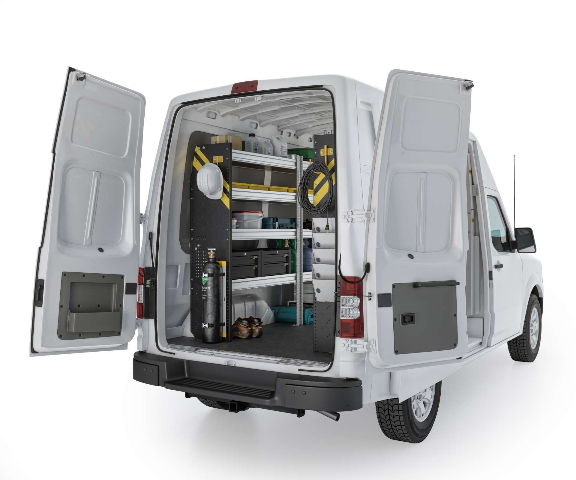 Nissan NV HVAC Package, NVH-12 Installed, Rear Driver View