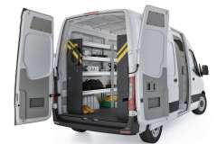 Mercedes Sprinter Contractor Package, DHS-10 Installed, Rear Driver View