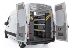 Mercedes Sprinter Contractor Package, DHS-10 Installed, Rear-Passenger-View