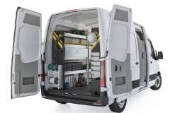 Mercedes Sprinter Electrical Package, DHS-11 Installed, Rear Driver View