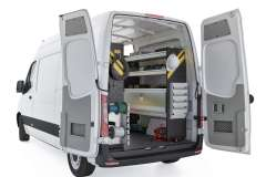 Mercedes Sprinter Electrical Package, DHS-11 Installed, Rear Passenger View