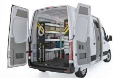 Mercedes Sprinter HVAC Package, DHS-12 Installed, Rear Driver View