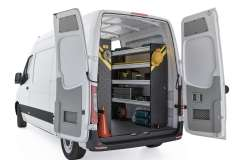 Mercedes Sprinter Service Package, DHS-16 Installed, Rear Passenger View
