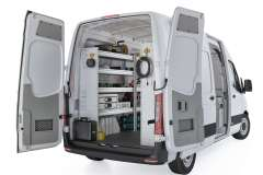 Mercedes Sprinter Aluminum Package, DHS-27 Installed, Rear Driver View