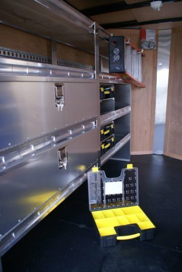 Enclosed-Trailer-Shelving-with-Parts-Organizers