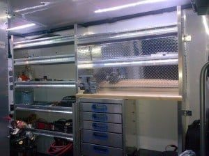 New shelving and workbench in Sprinter van