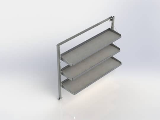 Enclosed Trailer Accessory: Fold Away Shelving System, 3 Levels, #8472-3