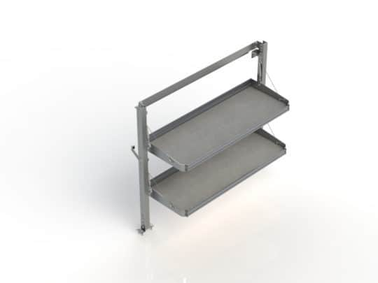 "Fold-Away shelving unit with 2 levels, aluminum, 18""d x 55""w x 46 1/2""h Click to enlarge"