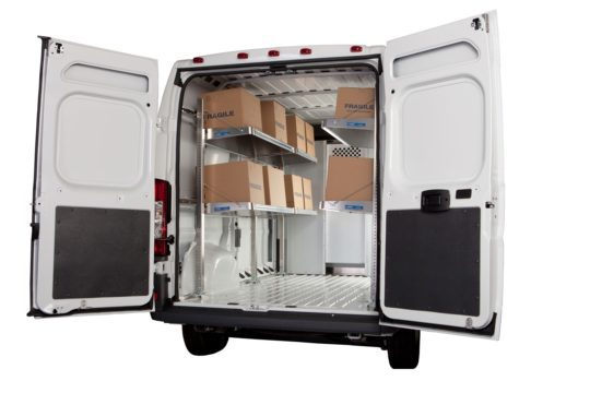 Ram Promaster with Cargo Van Shelving gives extra headroom