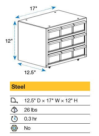Parts Storage Cabinet Drawing 17x12.5x12