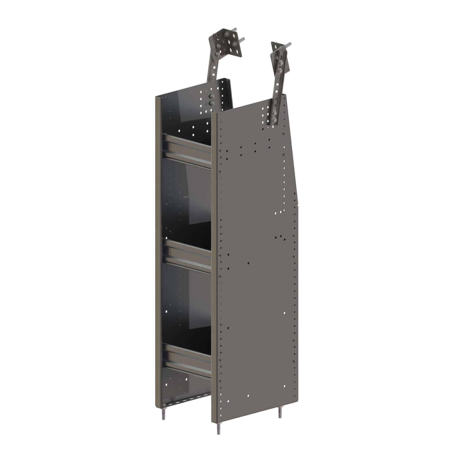 N4 Series Cargo Van Shelving Bookshelf 12 Wide 3 Trays N4 Ra12 3